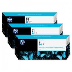HP 91 775ml x 3 pack Cyan Ink Cartridge