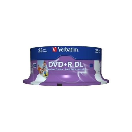 VERBATIM DVD+R DL 8.5GB 25Pk WHT Wide IJ 8x