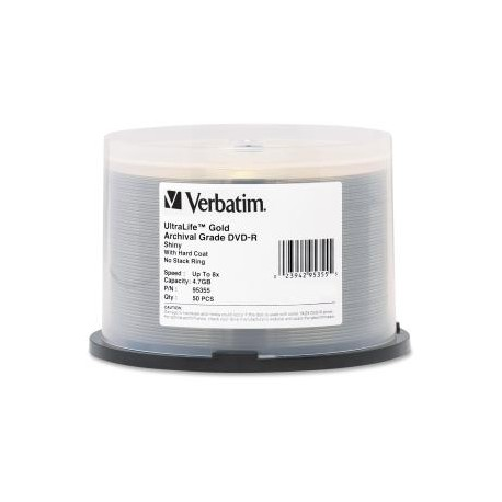 VERBATIM 50 pk DVD-R 4.7GB GLD Archival Grade 8x