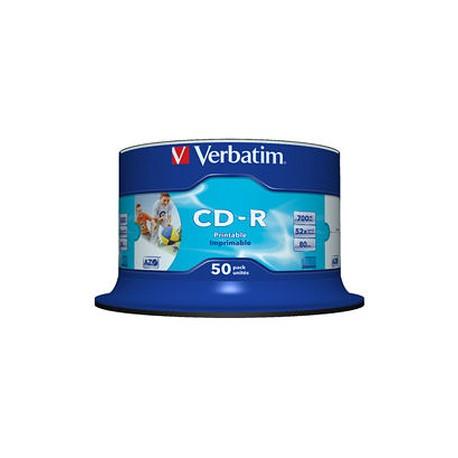 VERBATIM CD-R 80Min 50Pk WHT InkJet 52x