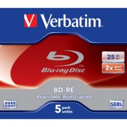 VERBATIM Blu Ray BD-RE 2X 25GB 5pack