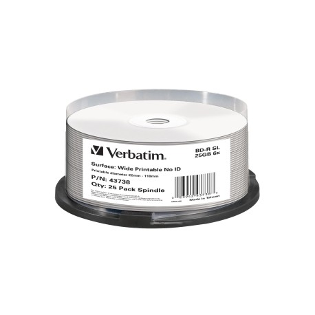 VERBATIM Blu-Ray 25GB 25Pk Spindle White Wide Ink