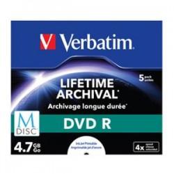 VERBATIM M-Disc DVD R 4.7GB 5Pk JC White IJ Print