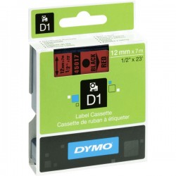 DYMO TAPE D1 12MM X 7M BLACKK ON RED