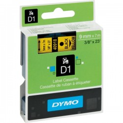 DYMO TAPE D1 9MM X 7M BLACK ON YELLOW