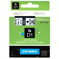 DYMO TAPE D1 19MM X 7M BLACK ON WHITE