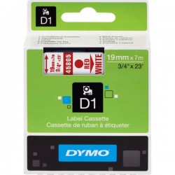 DYMO TAPE D1 19MMX7M RED/WHT