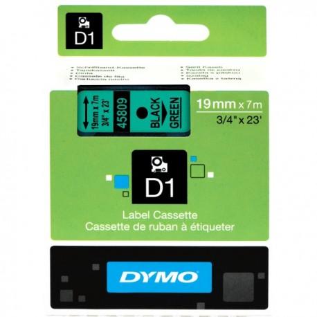 DYMO TAPE D1 19MMX7M BLK/GRN