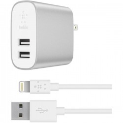 BELKIN BOOST CHRGE 2-PORT HOME CHGR LTG CBL SLV